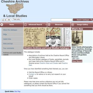 Cheshire Archives Catalogue