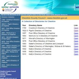 Chesire East Trade Directories