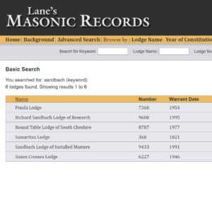 Lane's Masonic Records